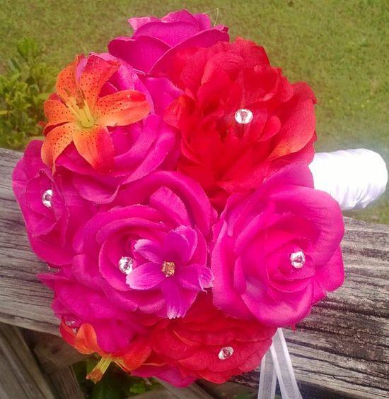 Hot Pink Orange Silk Wedding Bridal Bouquet by SilkFlowersByJean, $350.00