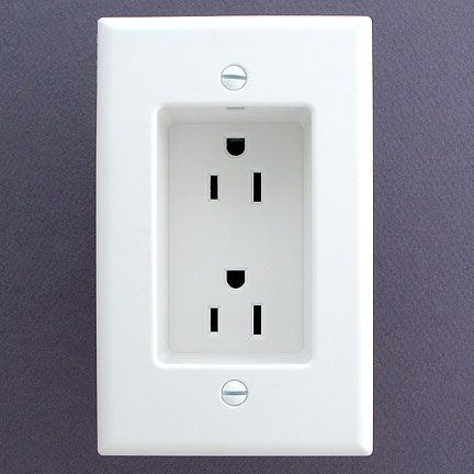 Wish I had these outlets in my house! use recessed outlets so that the plugs don't stick out from the wall. This allows furniture to be flat against the wall.