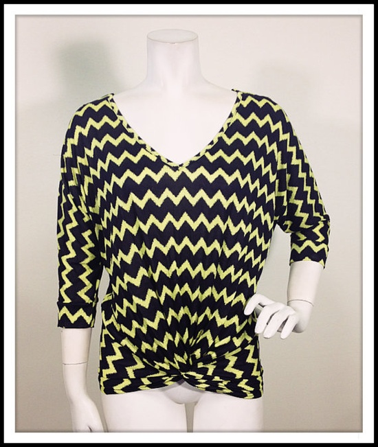 ZigZag Print Top with Front knot