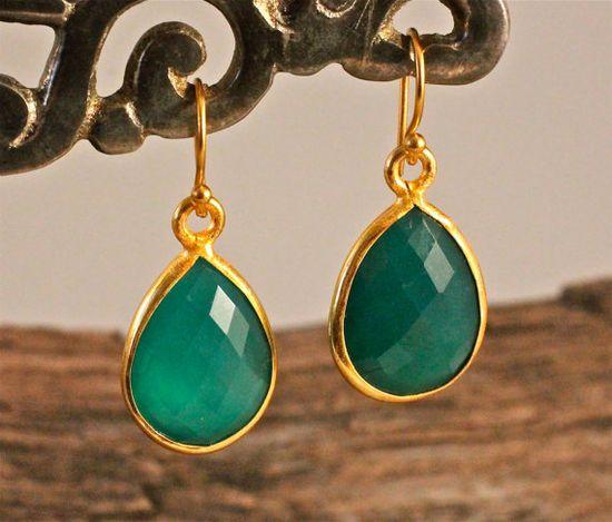 New Size Emerald Green Earrings Best Seller Amy Fine by amyfine