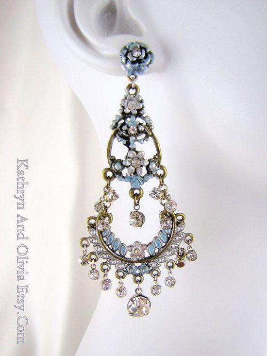 Blue Rhinestone Chandelier Earrings Bohemian by KathrynandOlivia, $145.00