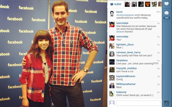 Working at the Facebook headquarters came with some perks. Heres Systrom meeting singer/celebrity Carly Rae Jepson. -- How Instagram's Co-Founder Spent His Year After Facebook's $1 Billion Acquisition #entrepreneur