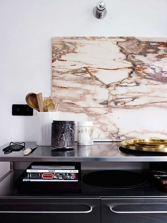 love the stainless top with open shelf below.  marble.  wood.  lovely.