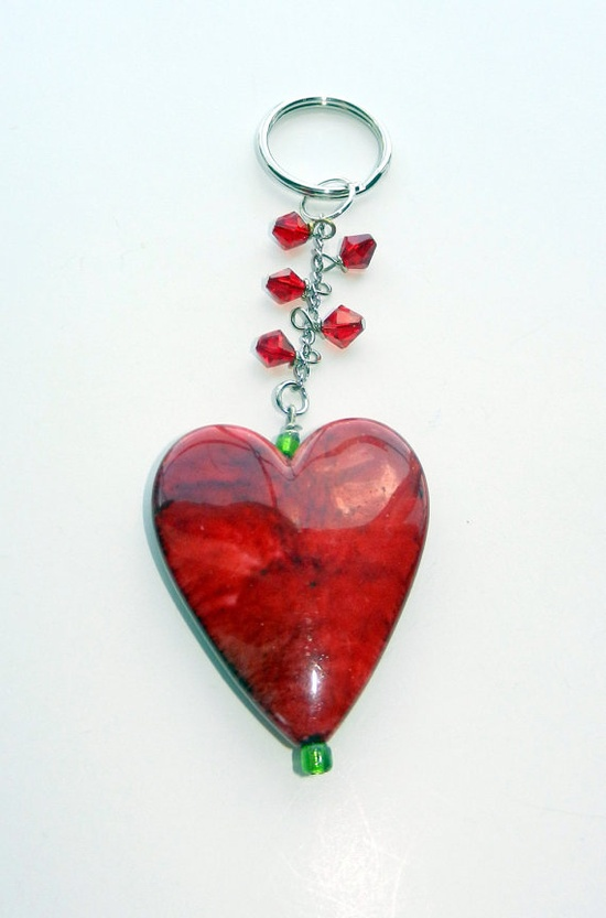Heart  Key Chain with Swarovski Crystals by CloudNineDesignz, $12.00