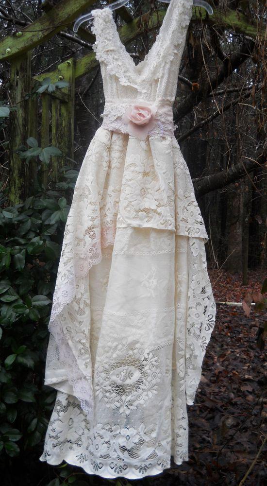Cream lace dress vintage   rose baby doll  wedding bridesmaid   romantic vintage opulence