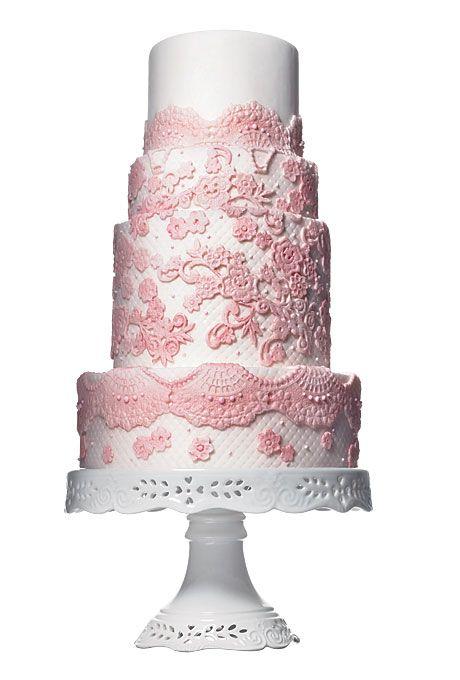 Pink Lace Appliqu? Wedding Cake Cakes