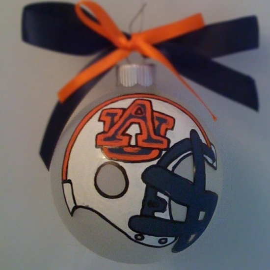 Hand painted Auburn ornament.