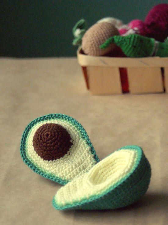 A crocheted avocado   Crocheted toy food  Play by YarnBallStories, $18.00
