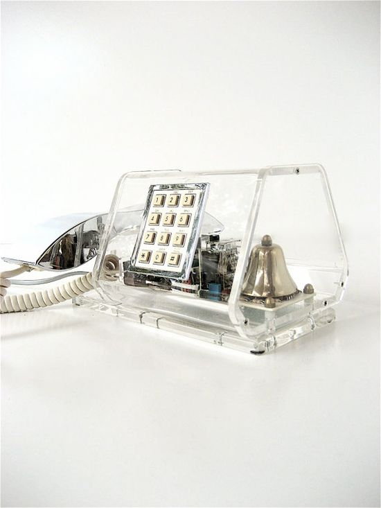 This vintage lucite and chrome phone is an incredible specimen. $175