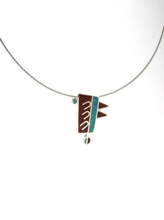 Sterling Silver Pendant  Chocolate and Turquoise by maldonadojoyas, $61.00