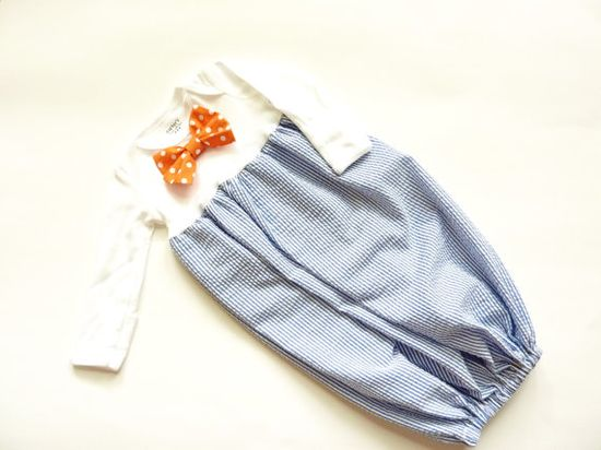 Custom Boutique Baby Boy Seersucker Bunting Gown with Matching Orange Polka Dot Bow Tie on Etsy, $28.00
