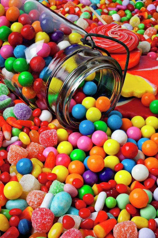 Jar Spilling Bubblegum With Candy