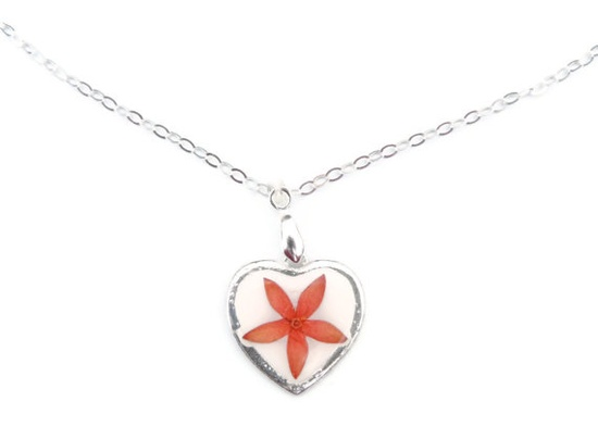 Pressed flowers pendant Pressed flowers in by AmazoniaAccessories, €12.00  #necklace #flower #red #pretty #pendant #heart #charm #silver #handmade #botanical #flowers