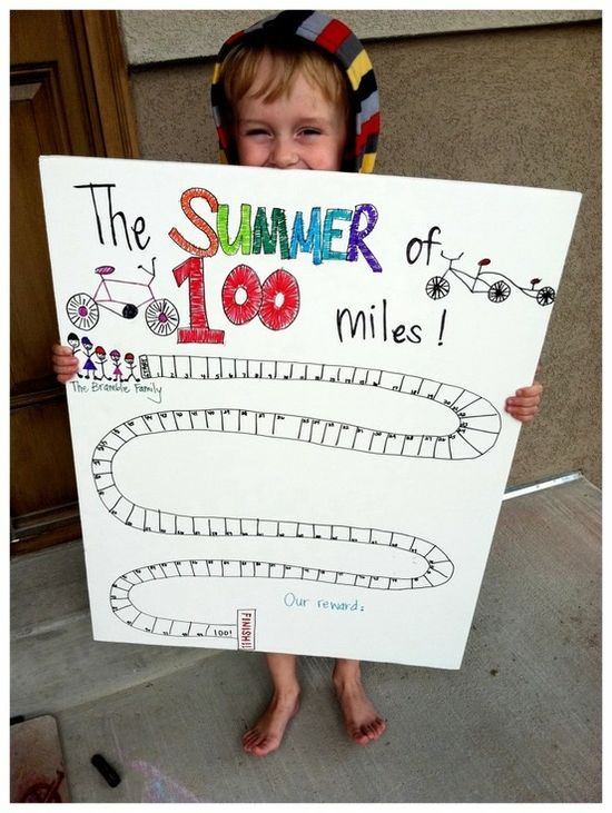 """""""summer of 100 miles biked together"""" - love this way of getting your little tyke active with you!"""