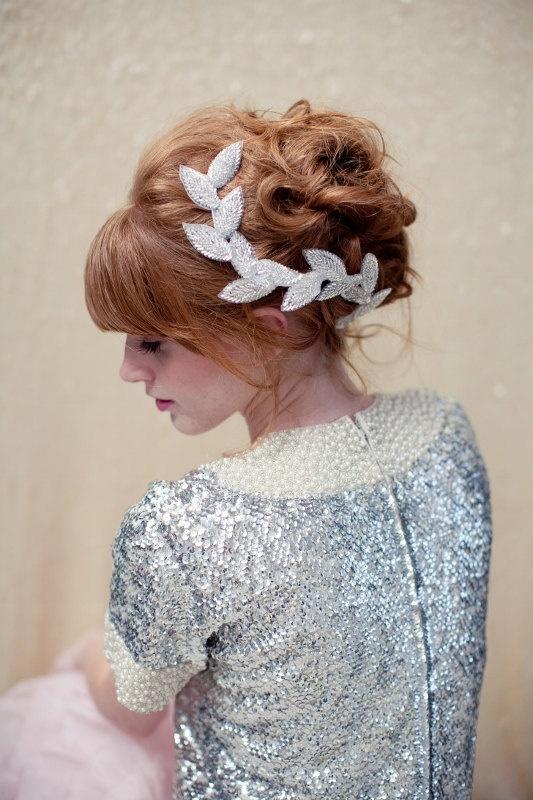 Bridal headpiece beaded leaf clip bridal headband by LoBoheme