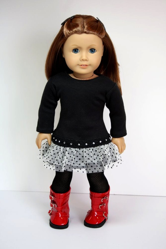 American Girl Doll Clothes-Ruffled Dress and Fishnet Leggings