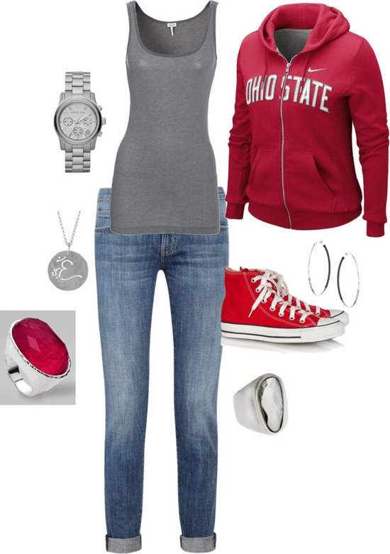 Ohio State Saturday!! - Polyvore A fashion look from October 2012 featuring NIKE hoodies, Splendid tops and Current/Elliott jeans. Browse and shop related looks.