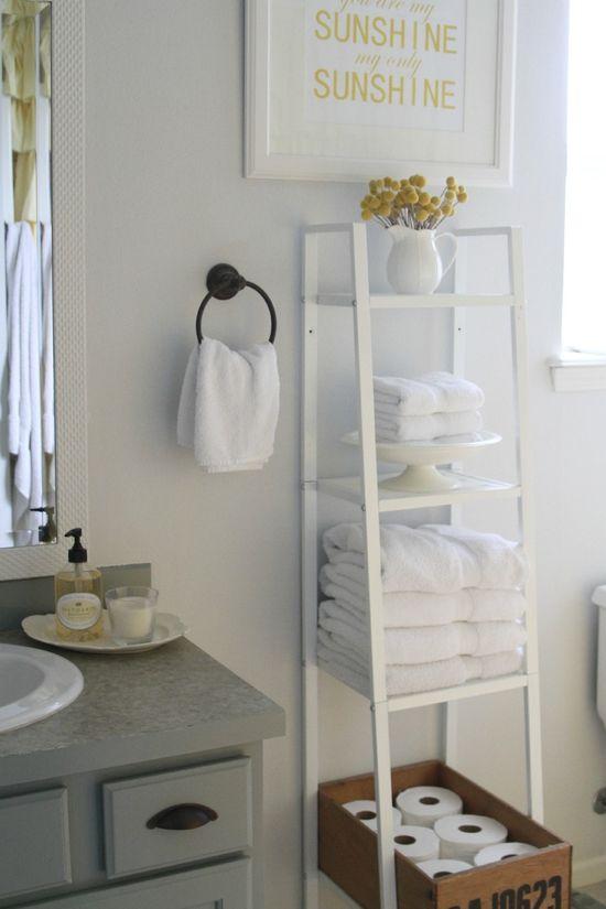 ladder shelf in bathroom