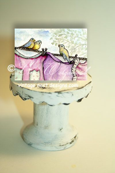 ACEO - Laundry Watercolor Print -  Vintage Nest Designs, Creative Handmade and Hand Painted Designs