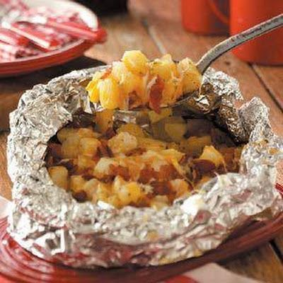 Three Cheese Campfire Potatoes. These are soooo good and you can add or take away stuff to make it your own.