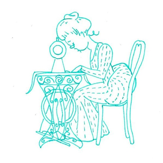 vintage sewing lady embroidery