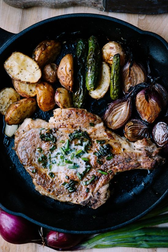Pork Chop with Chive Butter & Balsamic Roast Onions by bsinthekitchen #Pork_Chops