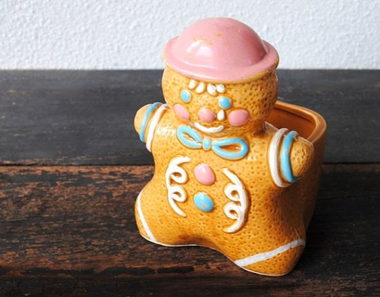 Vintage Gingerbread Man Ceramic Planter or by vintageeclecticity, $28.00