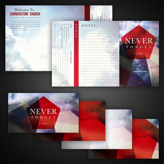Never Forget  Bulletin and slide designs for Cornerstone Church in Bowie, MD.