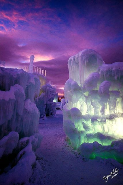 """~~Ice Castles in Silverthorne, Colorado~ spectacular """"another world"""" sunset by Roger Blakey~~"""