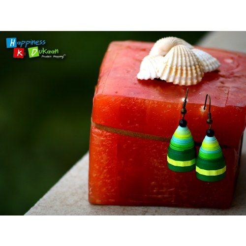 Green Bell Drop Handmade Earrings