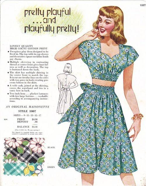 Maisonette salesman's sample card featuring a fantastic mid-1940s playsuit. #vintage #1940s #summer #fashion