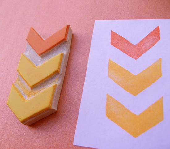 Big Chevron - Hand Carved Rubber Stamp