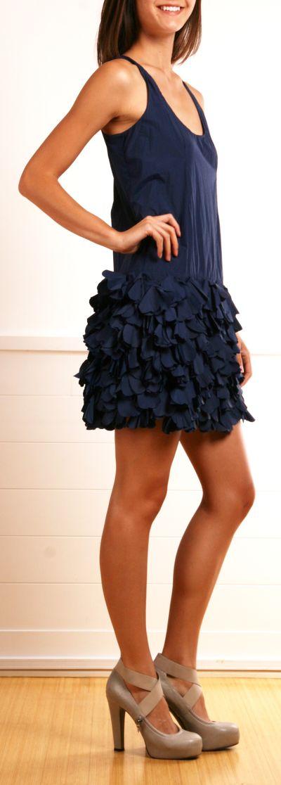 Navy Sleeveless Petal Dress
