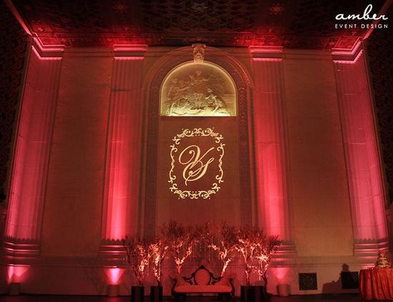Custom, Monogram, Up, Light, Uplighting, Gobo, Uplight, Amber event production lighting, audio, av, draping
