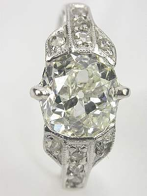 Post Art Deco Antique Diamond Engagement Ring