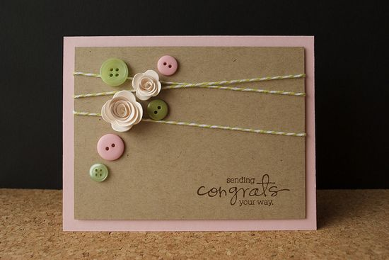 Cute Card with Buttons and String