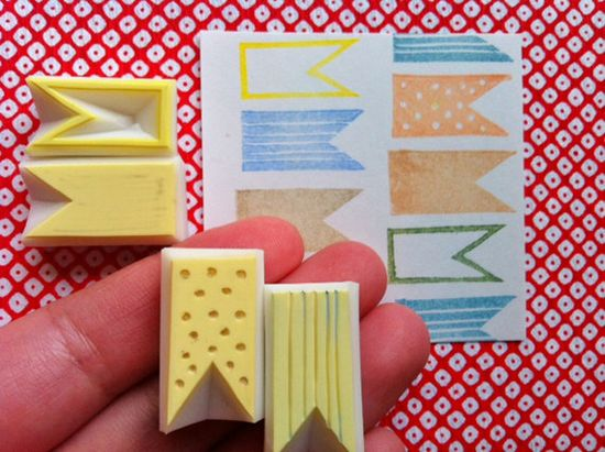 ribbon banner rubber stamp. hand carved rubber by talktothesun, $10.00