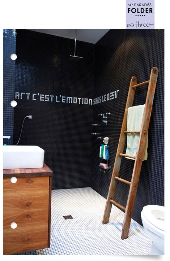 Love the idea of writing out a quote in small bath tile... maybe a name too? any design really