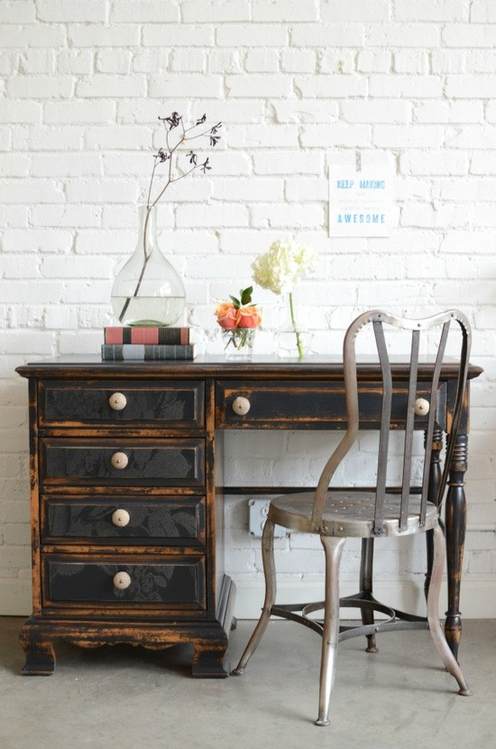 Hand painted black desk with papered drawer fronts: Evadne. $525.00, via Etsy.