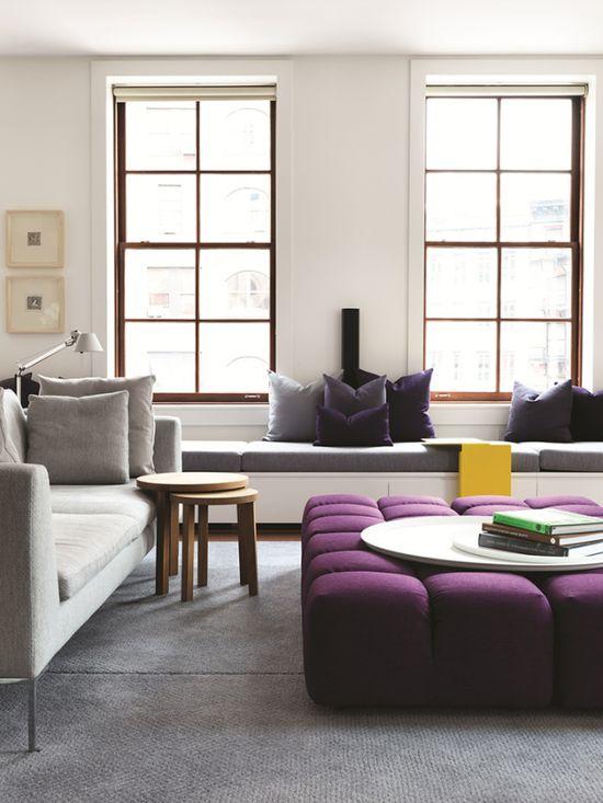 Window seating, Woods, Purple, Yellow highlights. Interior Design of Tribeca Loft, NYC by Nexus Designs