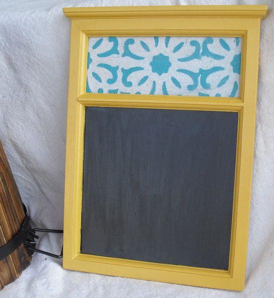 Yellow hanging chalkboard- boho