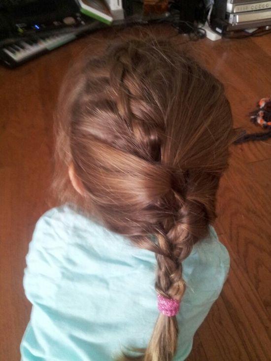 Diy braid.   Inverted French braid into a French braid.