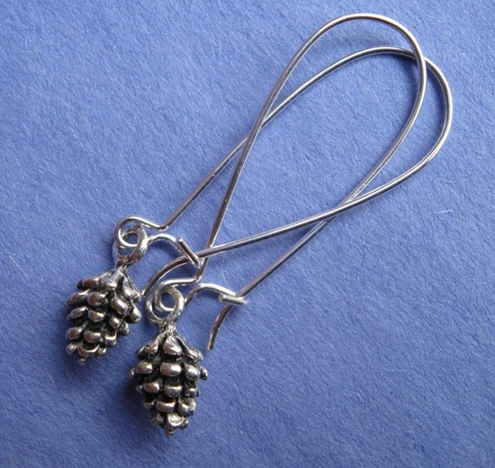 TINY PINE CONE earrings on French wires. $7.00.  Perfect for the season.