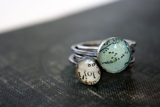 tuquoise stacking rings- map & dictionary page