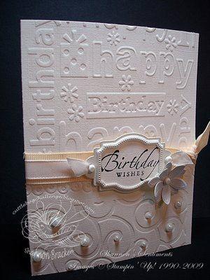 White Embossed Birthday Card