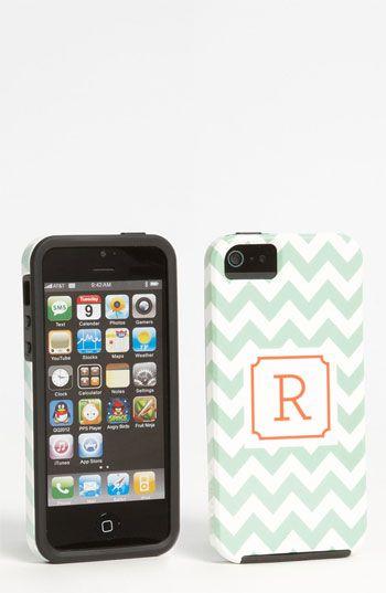 monogrammed iPhone 5 case - love the mint chevron!