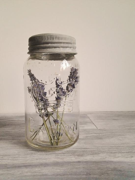 Vintage Mason Jar with Lavender Wedding Decor Photo Prop. $15.00, via Etsy.