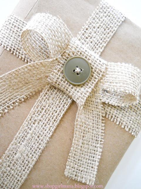 Burlap gift wrap idea