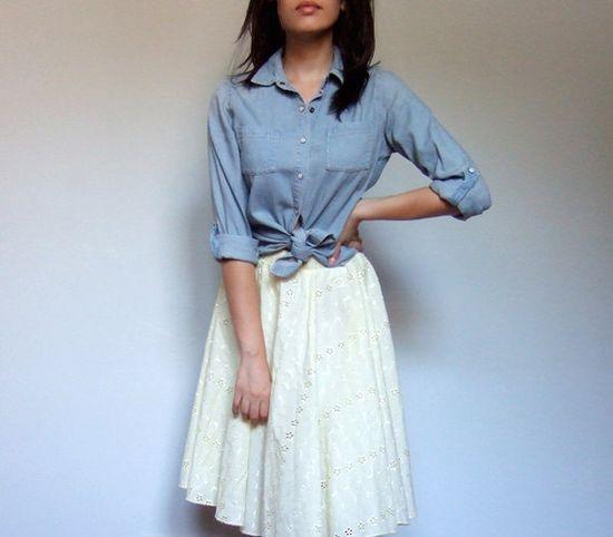 Knotted blue shirt + white circle skirt.