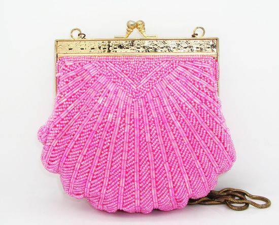 I ADORE vintage hand bags.  This pink beaded one is so cute!
